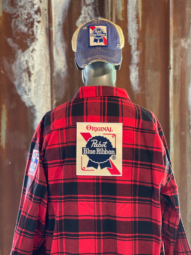 Pabst Blue Ribbon Beer Patch Flannel-Classic Red