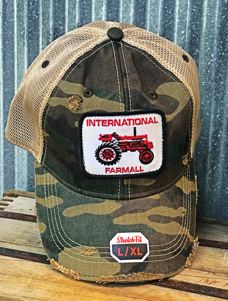 Vintage Tractor Patch Hat- Camo Stretchfit L/XL- Angry Minnow Vintage