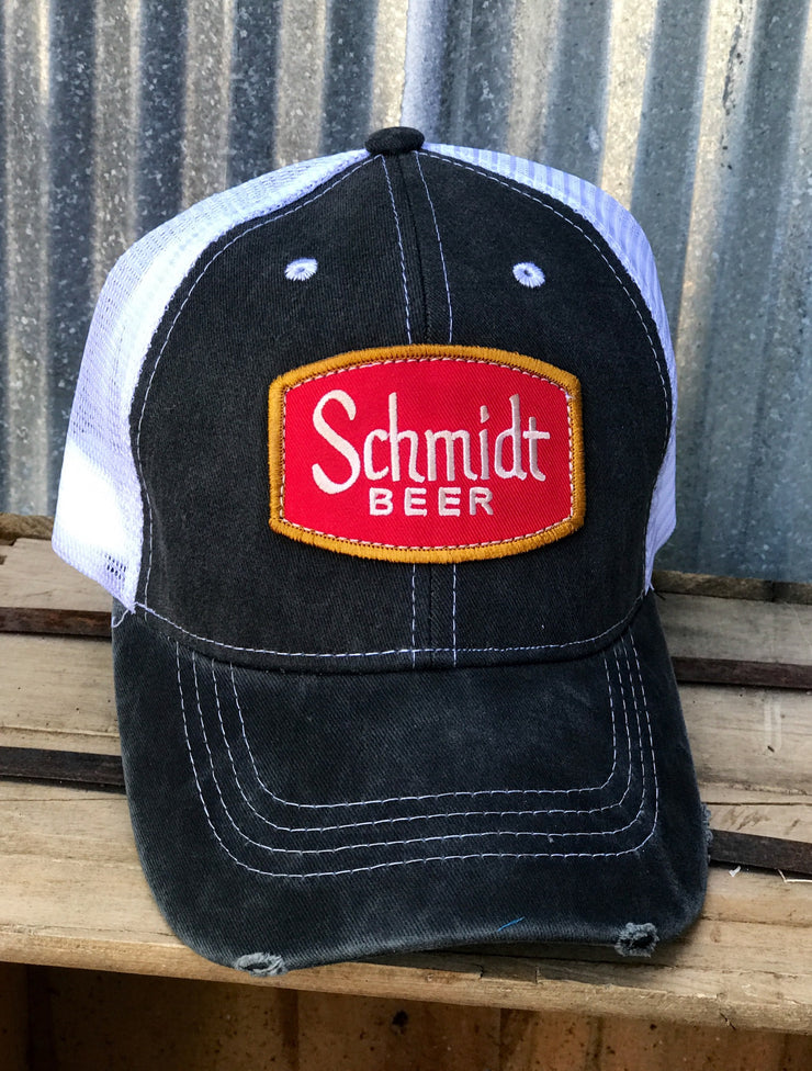 Schmidt Beer Trucker Hat -Black and White  Angry Minnow Vintage