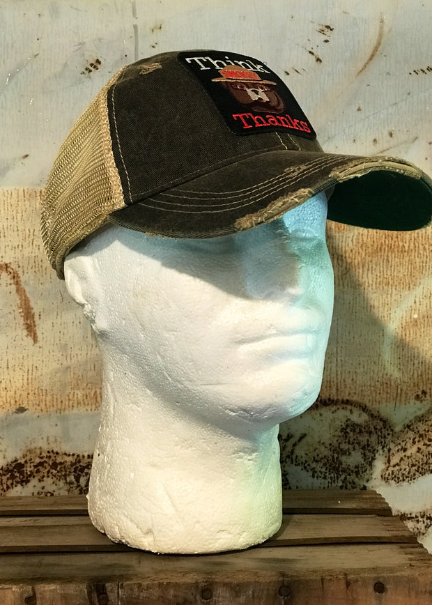 Smokey The Bear THINK THANKS Hat- Distressed Black Officially Licensed Angry Minnow Vintage
