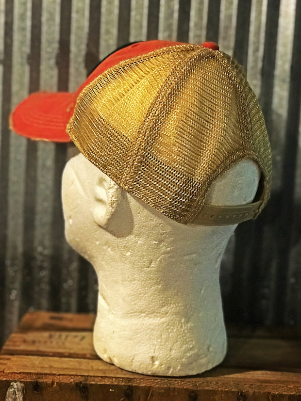 National Bohemian Live Pleasantly Beer Hat- Distressed Red Angry Minnow Vintage