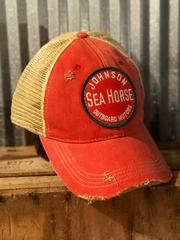 Outboard Hat- Distressed Red- Angry Minnow Vintage