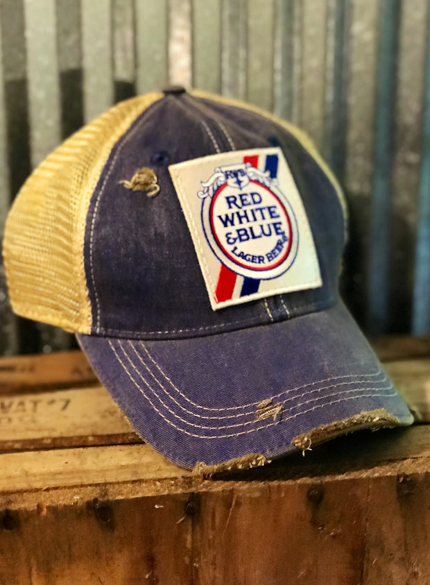 Red, White and Blue Beer Trucker Hat- Lake Blue Angry Minnow Vintage