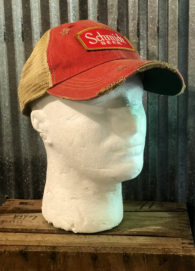 Schmidt Beer Trucker Hat -Distressed Red Angry Minnow Vintage