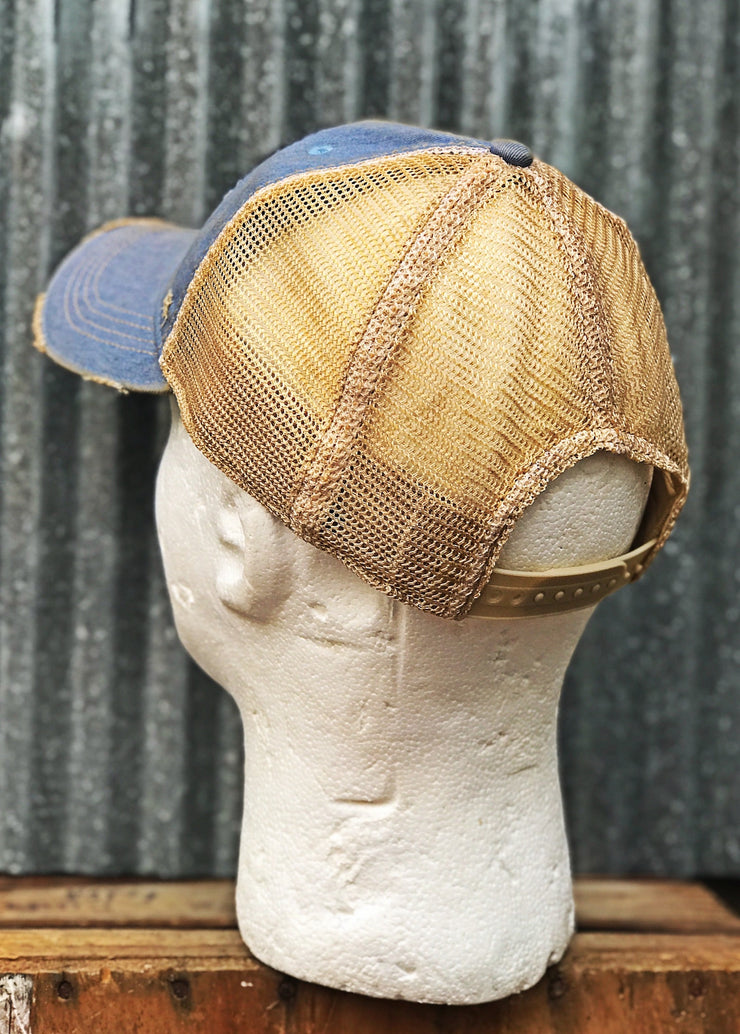 Fishing Hat (Blue Patch)- Distressed Sky Blue - Angry Minnow Vintage