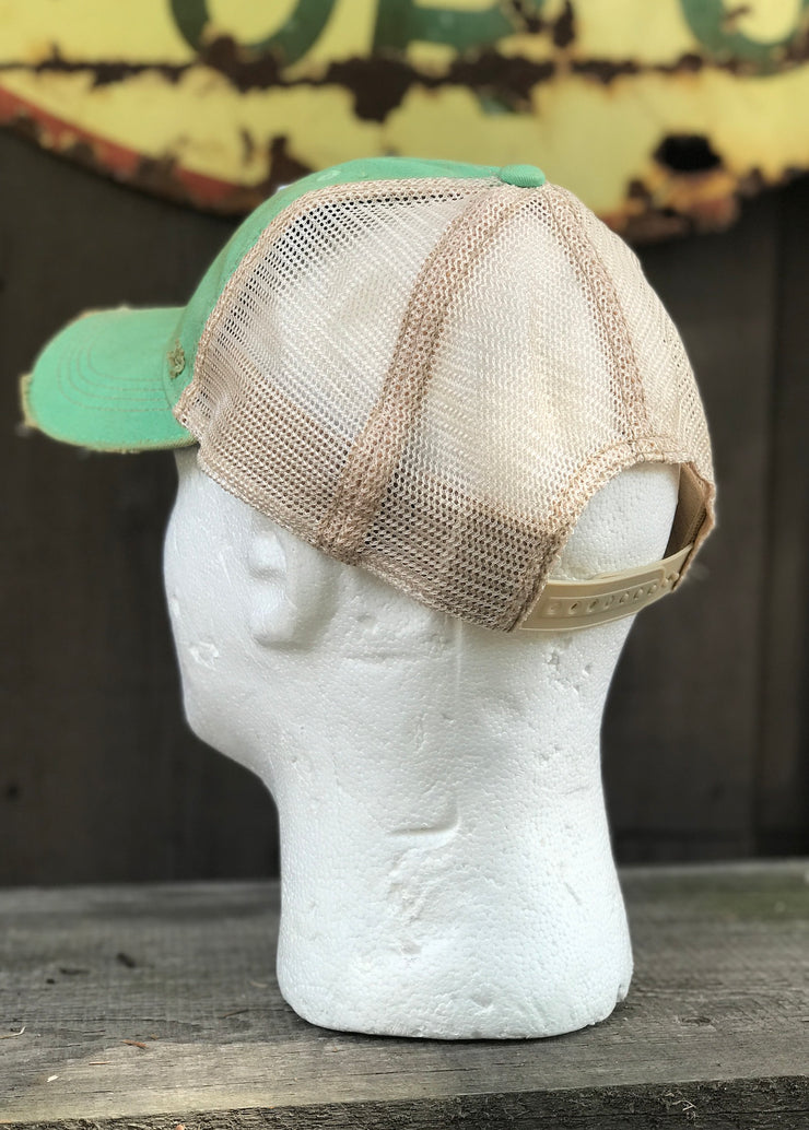 Fishing Lure Hat- Distressed Mint Green