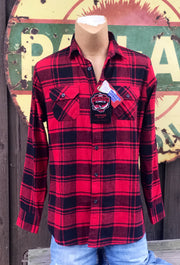 St. Cloud University Patch Flannel- Classic Red- Angry Minnow Vintage