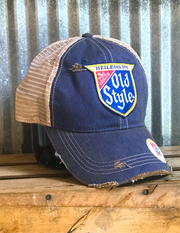 Old Style Beer Hat- Distressed Royal Blue