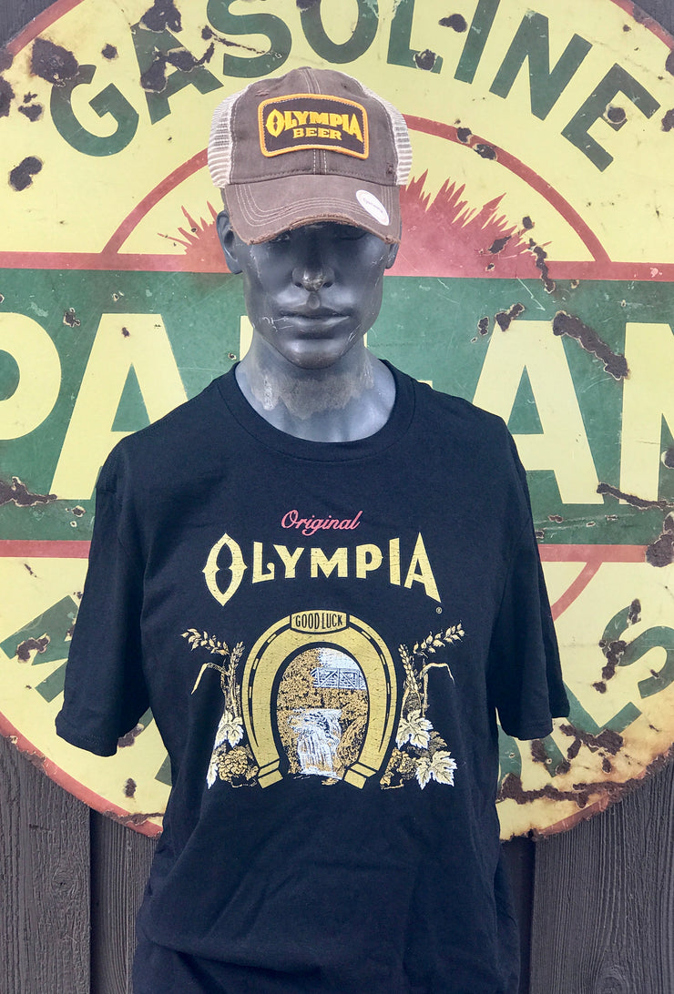Olympia Horseshoe Tee- Black Officially Licensed Angry Minnow Vintage Soft Cozy Apparel