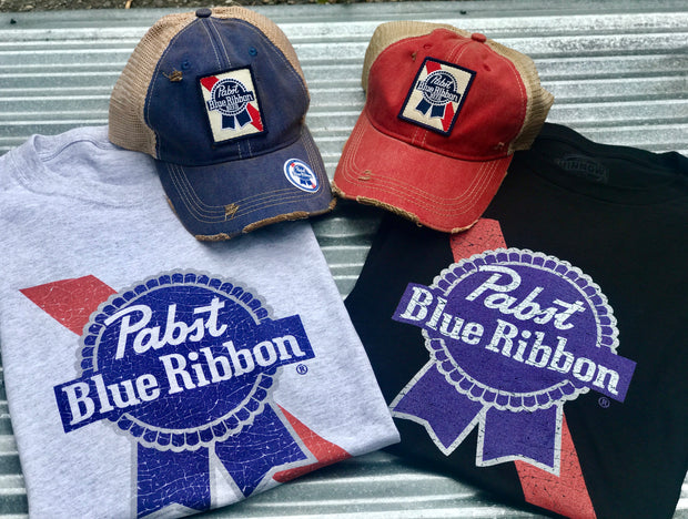 Pabst Blue Ribbon Hat- Distressed Red Officially Licensed Angry Minnow Vintage