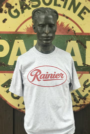 Rainier Beer Tee- Heathered Grey