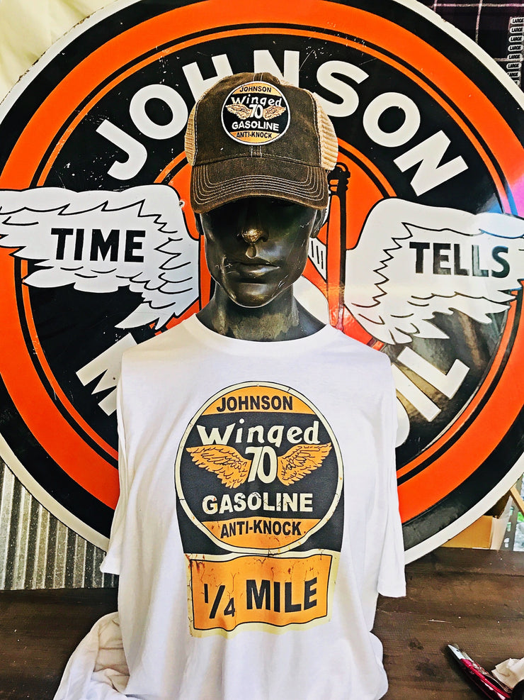 Johnson Gasoline Gas White Tee Angry Minnow Vintage