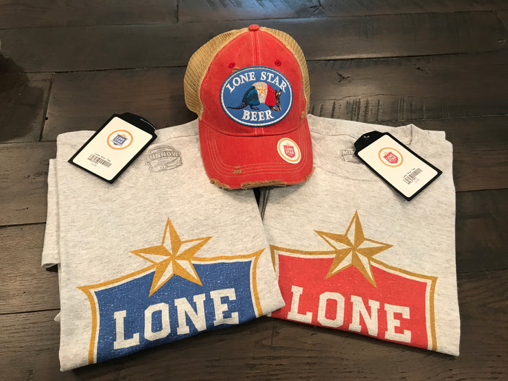 Lone Star Tee- Royal Blue Logo on Heather Grey