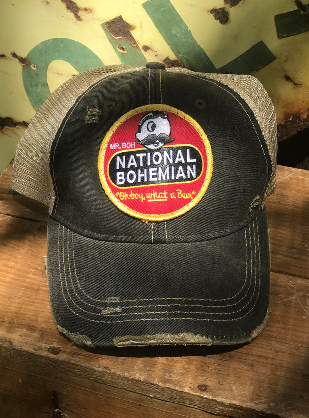 National Bohemian Beer Hat- Distressed Black Angry Minnow Vintage