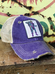 After School Hat- Distressed Purple/Ivory Snapback