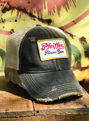 Pfeiffer Beer Patch Trucker Hat- Distressed Black Snapback Angry Minnow Vintage