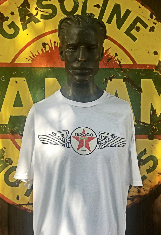 Texaco Winged Logo Tee- White- Angry Minnow Vintage