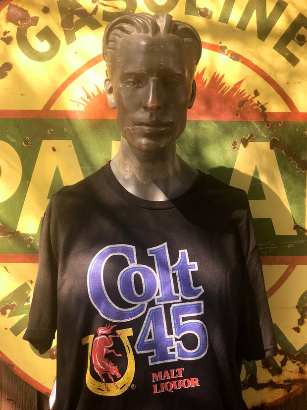Colt 45 Beer tee- Black Angry Minnow Vintage Officially Licensed