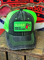 Oliver Tractor Patch Hat- Neon Green/ Black- Angry Minnow Vintage