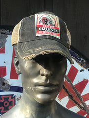 Chief Oshkosh Pilsener Beer Wisconsin- Distressed Black Snapback Hat