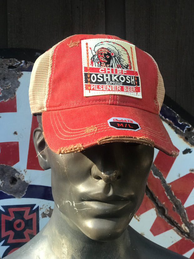 Chief Oshkosh Pilsner Beer Wisconsin- Distressed Red Stretchfit M/L