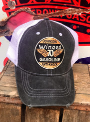 Johnson Gasoline Winged Gasoline- Velcro back hat Angry Minnow Vintage Super Cool Petrolia