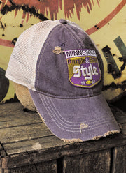 Old Style Minnesota Hat- Distressed Purple Snapback