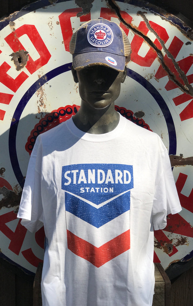 Standard Gas/Oil Shield Logo Tee- White Angry Minnow Vintage
