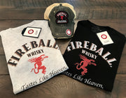 Fireball Whiskey Label Tee- Grey- Angry Minnow Vintage