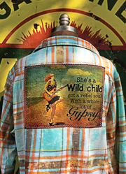 She's a Wild Child Art Flannel- Lake Tahoe Blue - Angry Minnow Vintage