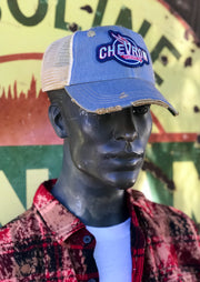 Chevron Gasoline Blue Hat Angry Minnow Vintage Hat