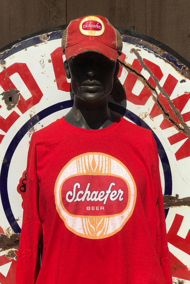 Schaefer Beer Long Sleeve Tee Cotton - Red Angry Minnow Vintage Licensed