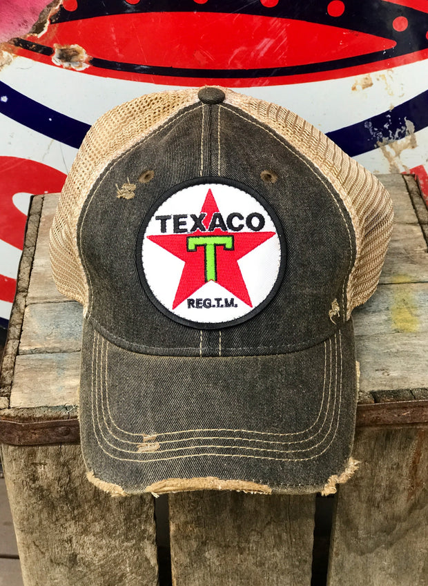 Texaco Vintage Star Logo Hat- Distressed Black Angry Minnow Vintage