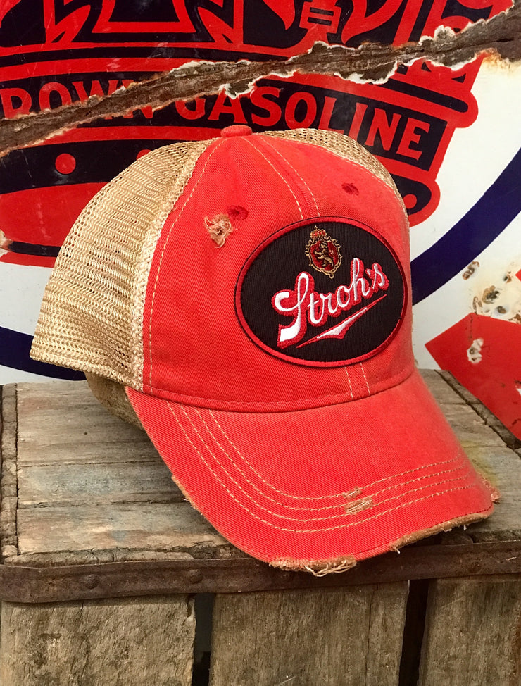 Stroh's Beer Vintage Logo Patch Hat - Distressed Red Snapback Angry Minnow Vintage