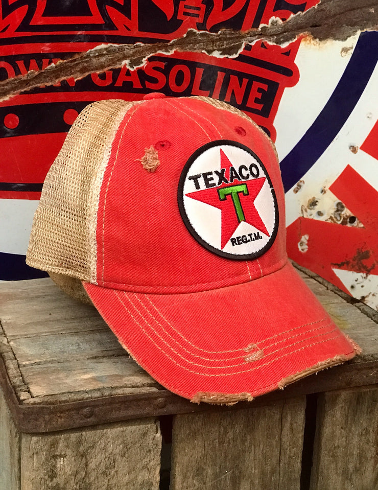 Texaco Vintage Star Logo Hat- Distressed Red Snapback Angry Minnow Vintage