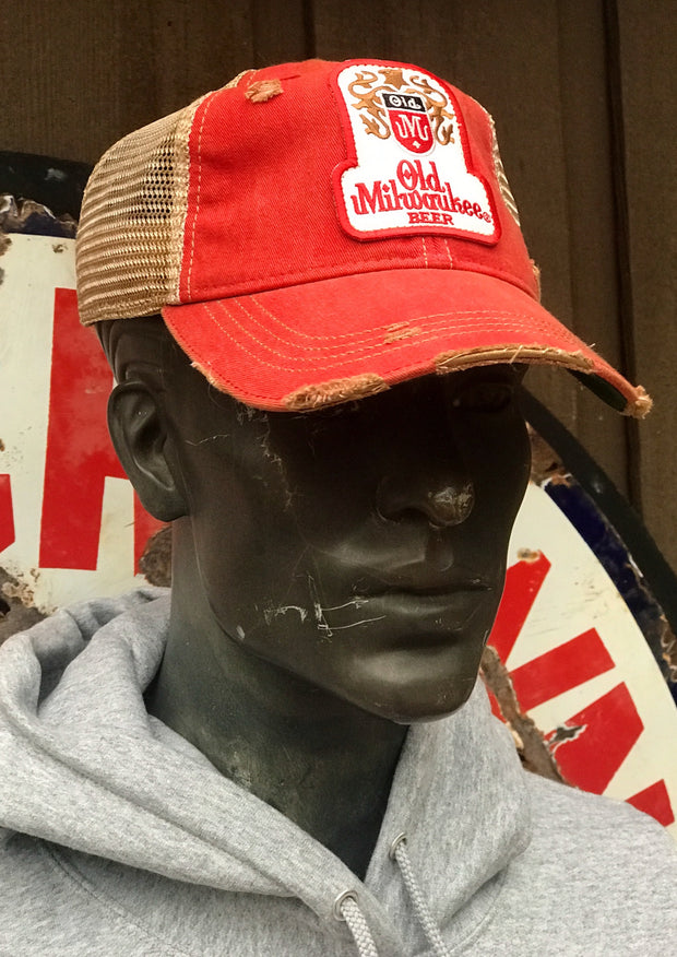 Old Milwaukee Beer Hat- Distressed Red Snapback Angry Minnow Vintage