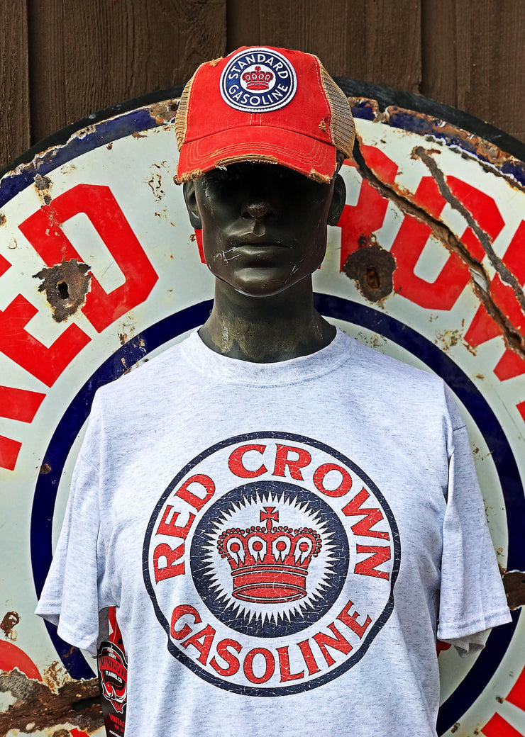 Red Crown Gas Tee- Heather Grey