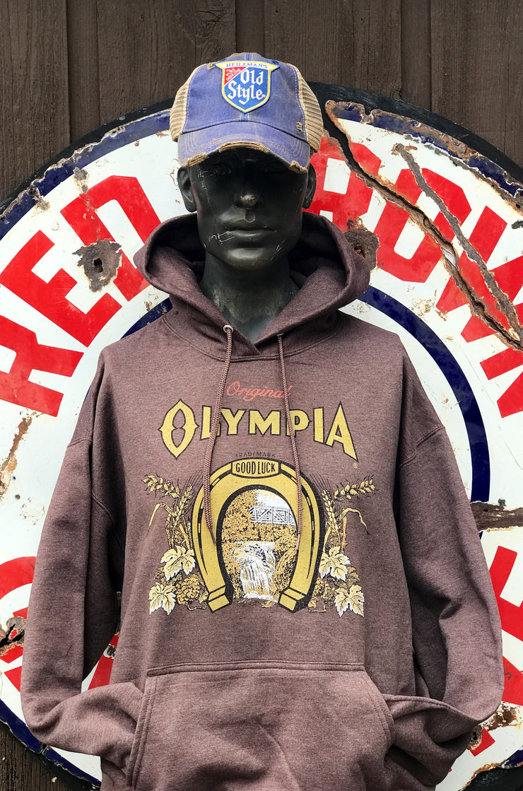 Olympia Beer Horseshoe Hoodies- Heather Brown