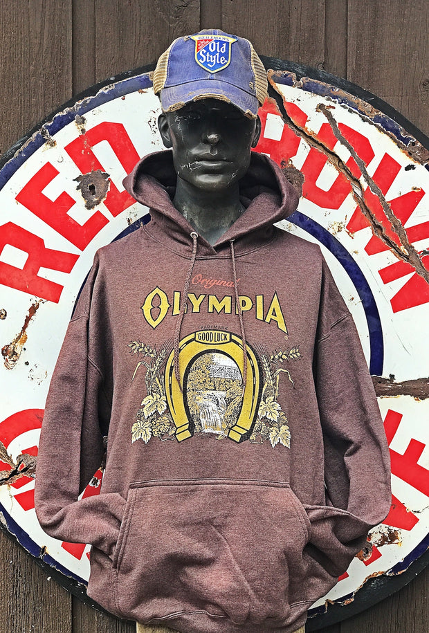 Olympia Beer Hoodies- Heathered Brown