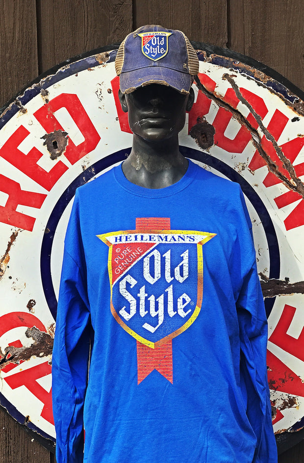 Old Style Beer Long Sleeve Tee- Royal Blue