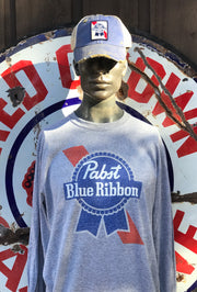 Pabst Blue Ribbon Long Sleeve Tee- Heather Grey