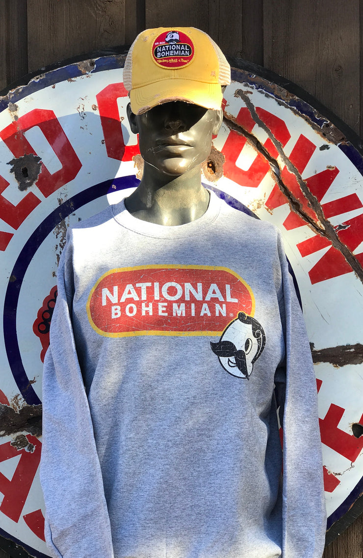 National Bohemian Beer Crewneck Sweatshirt- Heathered Grey