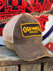 Olympia Beer Brown Patch Hat- Distressed Brown