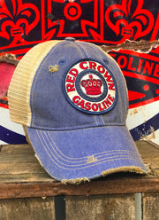 Red Crown Gasoline Hat- Distressed Royal Blue Snapback