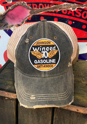 Johnson Winged Gas Hat- Distressed Black Snapback