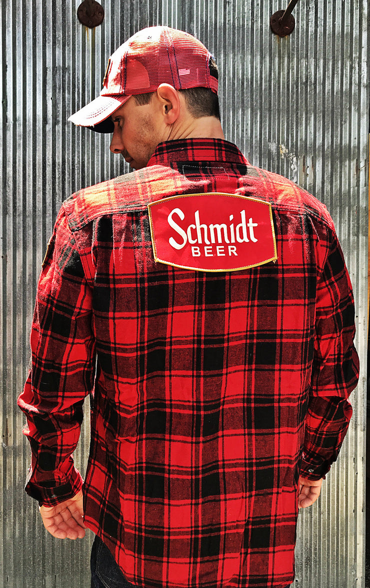 Schmidt beer vintage patch flannel Red Angry Minnow Vintage