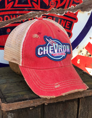 Chevron Gasoline Hat Angry Minnow Vintage