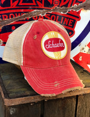 Schaefer Beer Hat- Distressed Red Snapback