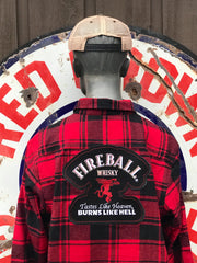 Angry Minnow Fireball Flannel Buffalo Plaid Red Fireball Whisky