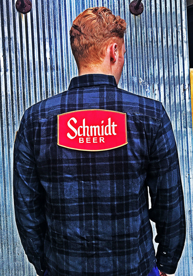 Schmidt beer vintage patch flannel Black Angry Minnow Vintage